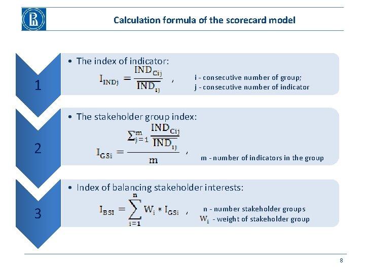 Calculation formula of the scorecard model • The index of indicator: 1 , i