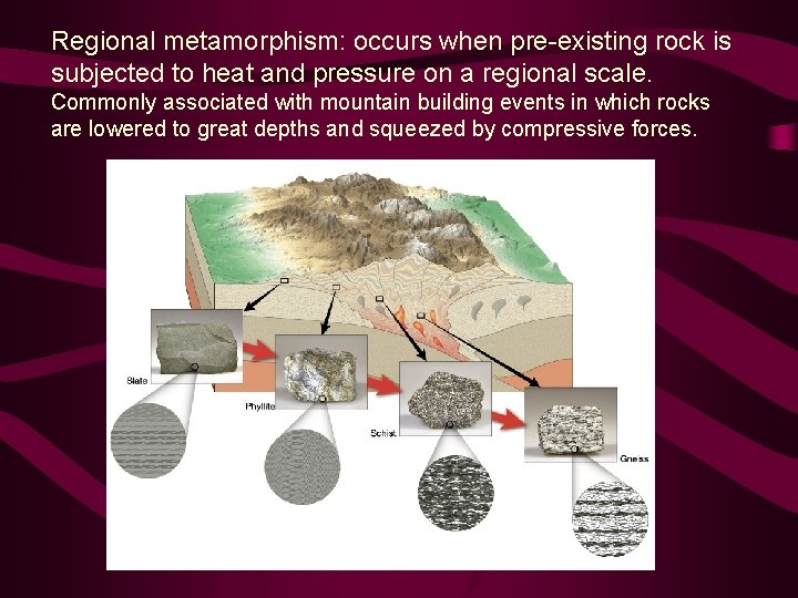 Regional metamorphism: occurs when pre-existing rock is subjected to heat and pressure on a