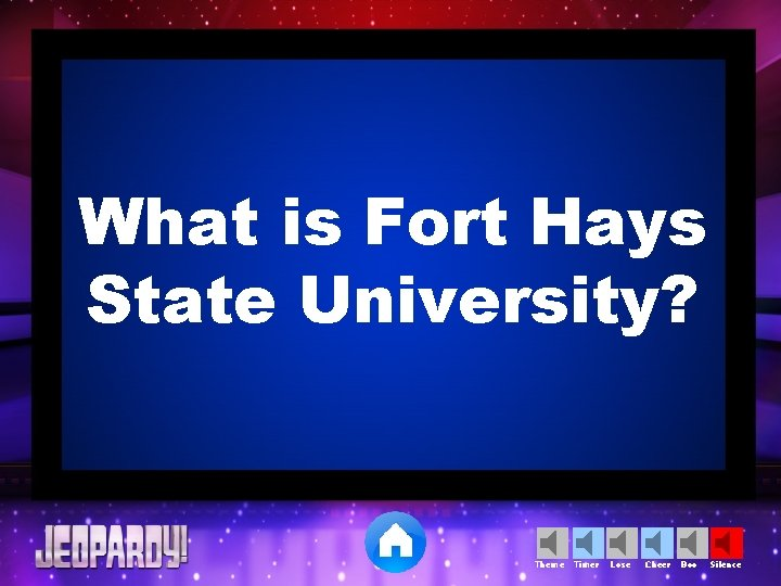 What is Fort Hays State University? Theme Timer Lose Cheer Boo Silence
