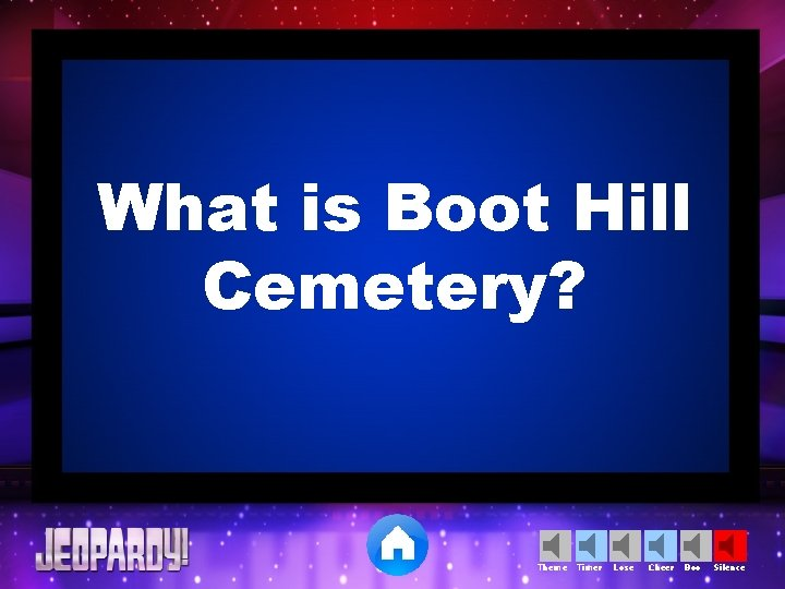 What is Boot Hill Cemetery? Theme Timer Lose Cheer Boo Silence