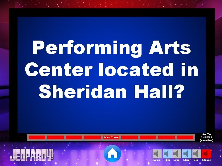 Performing Arts Center located in Sheridan Hall? GO TO ANSWER (question) Start Timer Theme