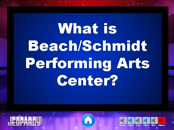 What is Beach/Schmidt Performing Arts Center? Theme Timer Lose Cheer Boo Silence
