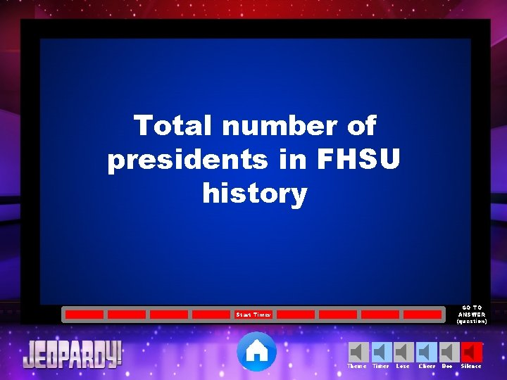 Total number of presidents in FHSU history GO TO ANSWER (question) Start Timer Theme