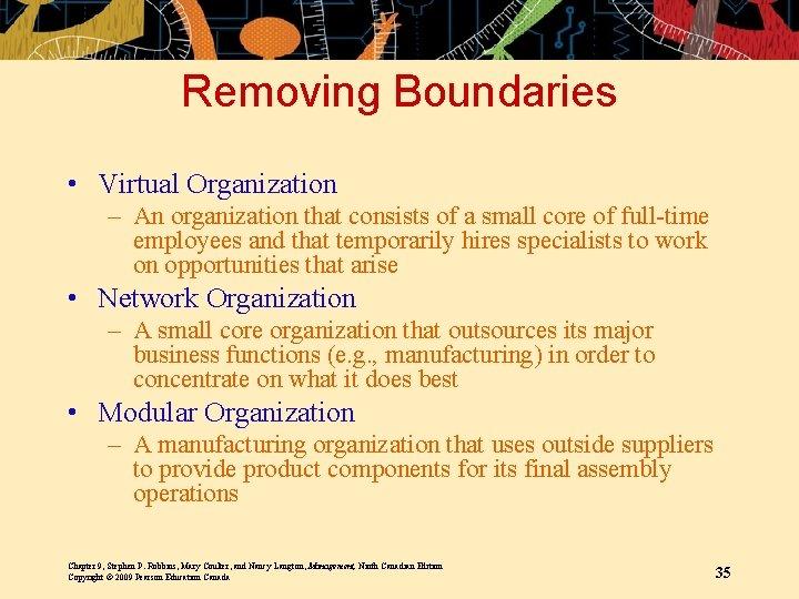 Removing Boundaries • Virtual Organization – An organization that consists of a small core