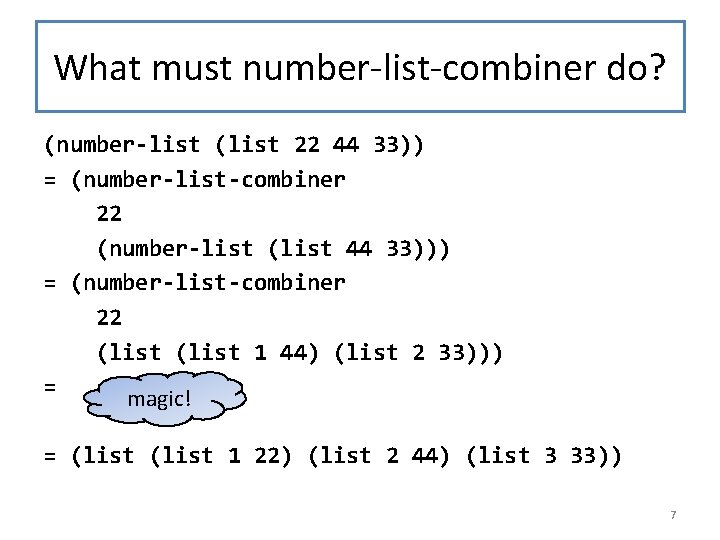 What must number-list-combiner do? (number-list (list 22 44 33)) = (number-list-combiner 22 (number-list (list