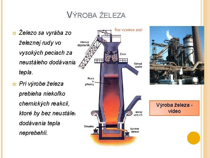 VÝROBA ŽELEZA Železo sa vyrába zo železnej rudy vo vysokých peciach za neustáleho dodávania