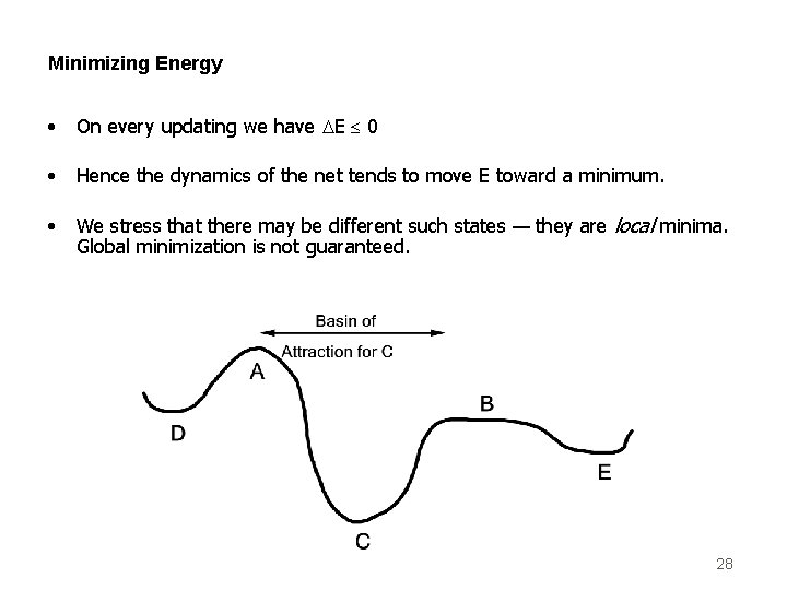 Minimizing Energy • On every updating we have DE 0 • Hence the dynamics