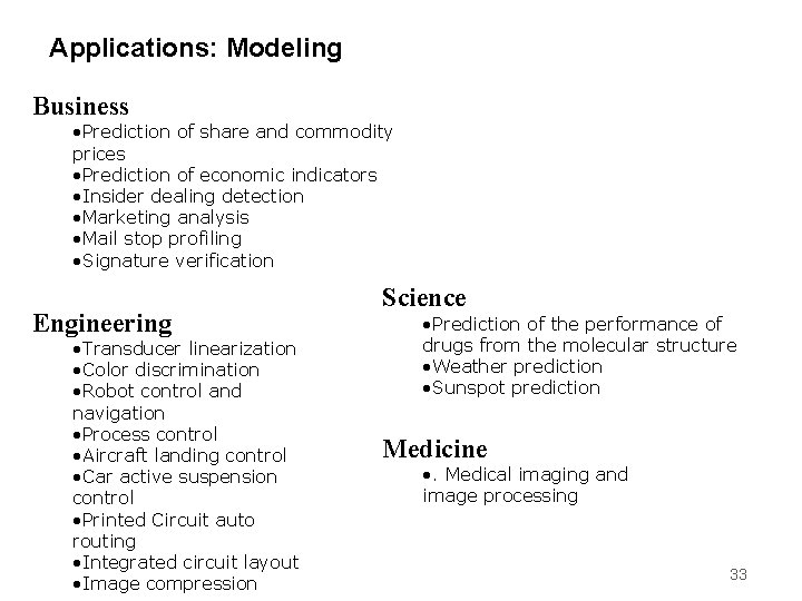 Applications: Modeling Business • Prediction of share and commodity prices • Prediction of economic