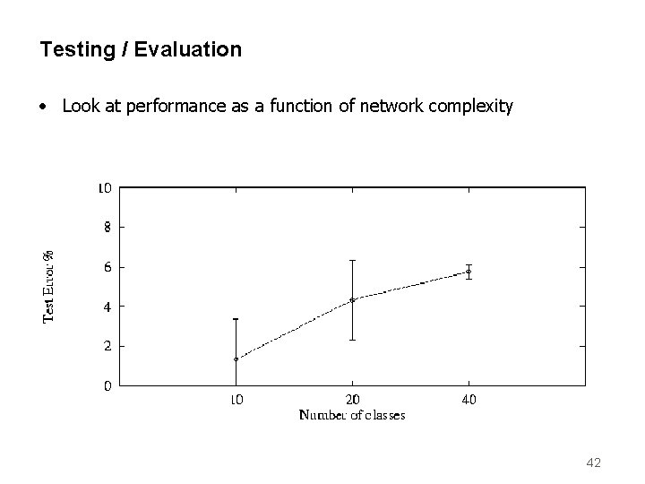 Testing / Evaluation • Look at performance as a function of network complexity 42