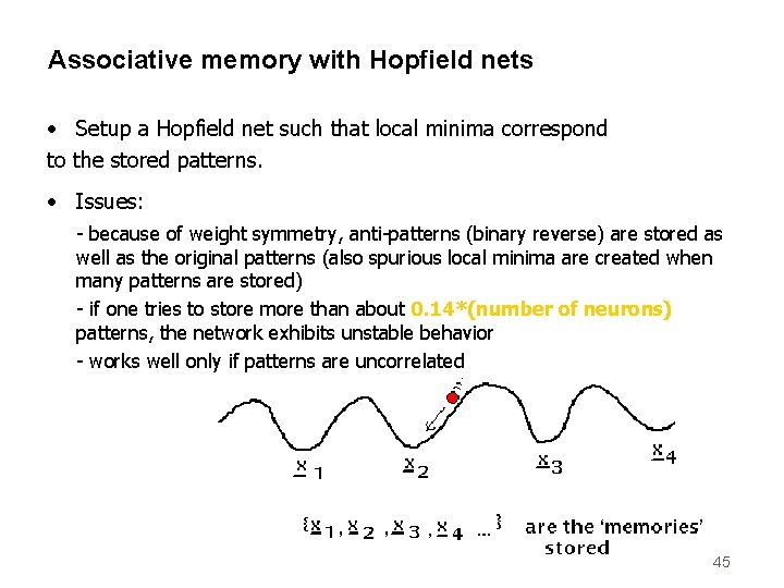 Associative memory with Hopfield nets • Setup a Hopfield net such that local minima