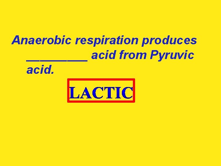Anaerobic respiration produces _____ acid from Pyruvic acid.