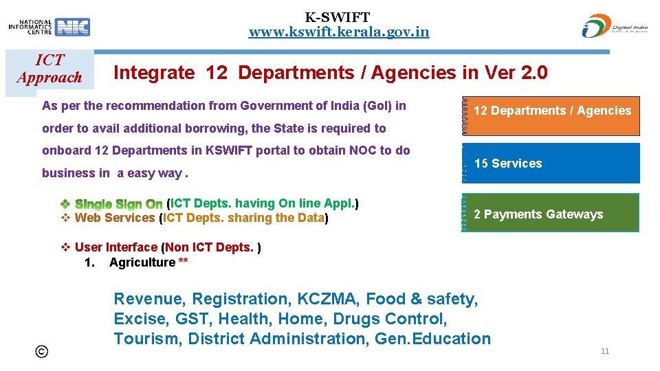 K-SWIFT www. kswift. kerala. gov. in ICT Approach Integrate 12 Departments / Agencies in
