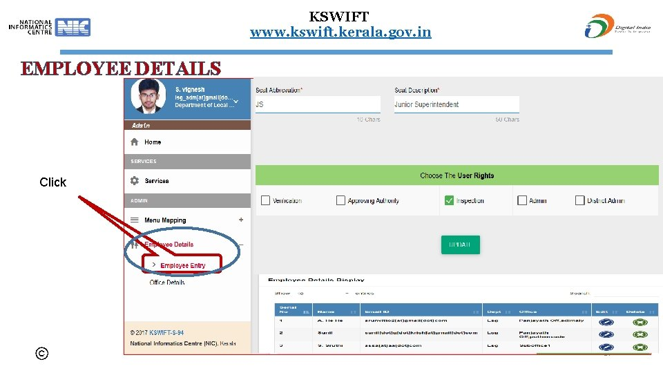 KSWIFT www. kswift. kerala. gov. in EMPLOYEE DETAILS Click 57