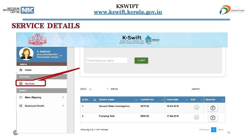 KSWIFT www. kswift. kerala. gov. in SERVICE DETAILS 58