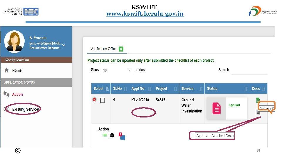 KSWIFT www. kswift. kerala. gov. in 61