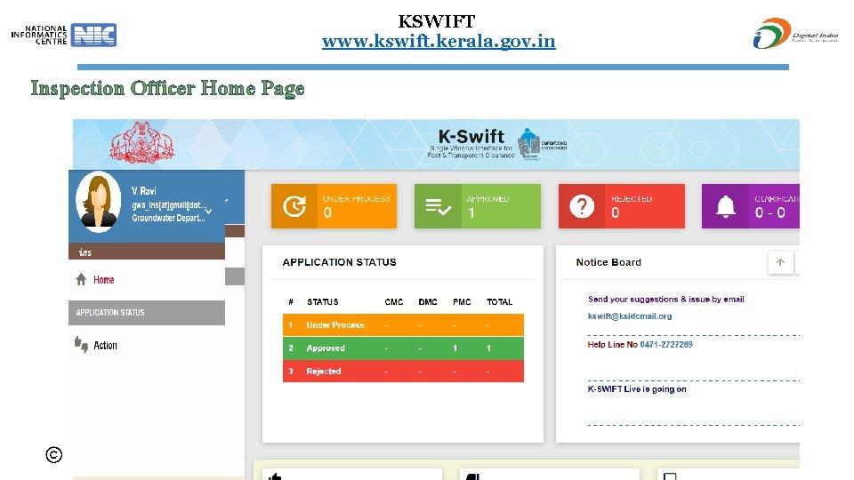 KSWIFT www. kswift. kerala. gov. in Inspection Officer Home Page 68