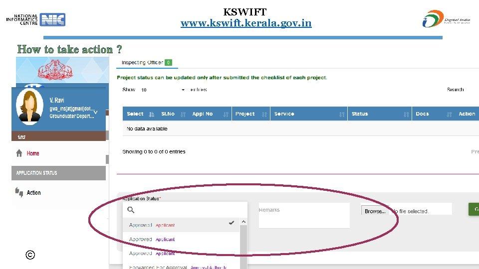 KSWIFT www. kswift. kerala. gov. in How to take action ? Uploading any docs