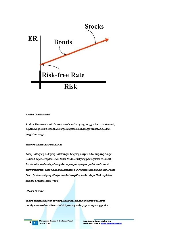 Stocks ER Bonds Risk-free Rate Risk Analisis Fundamental adalah suatu metode analisis yang menggunakan