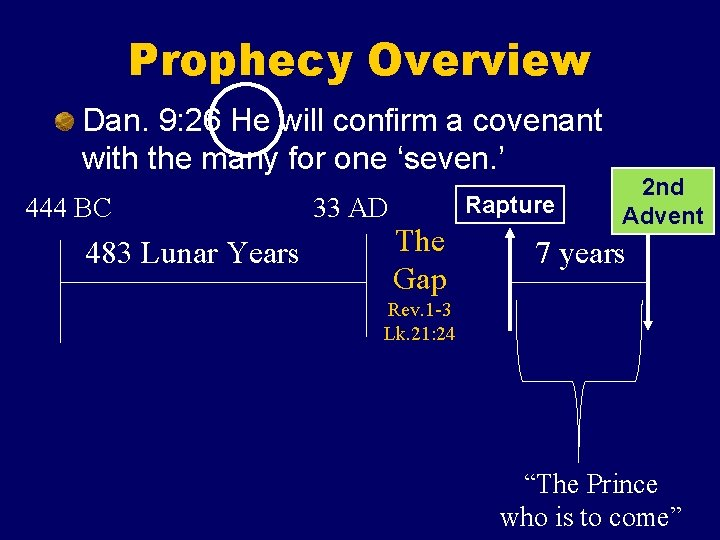 Prophecy Overview Dan. 9: 26 He will confirm a covenant with the many for