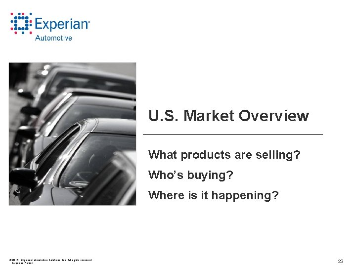 U. S. Market Overview What products are selling? Who's buying? Where is it happening?