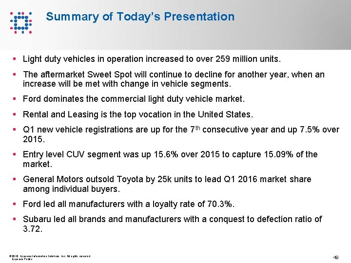 Summary of Today's Presentation § Light duty vehicles in operation increased to over 259