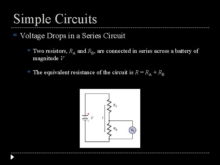 Simple Circuits Voltage Drops in a Series Circuit Two resistors, RA and RB, are