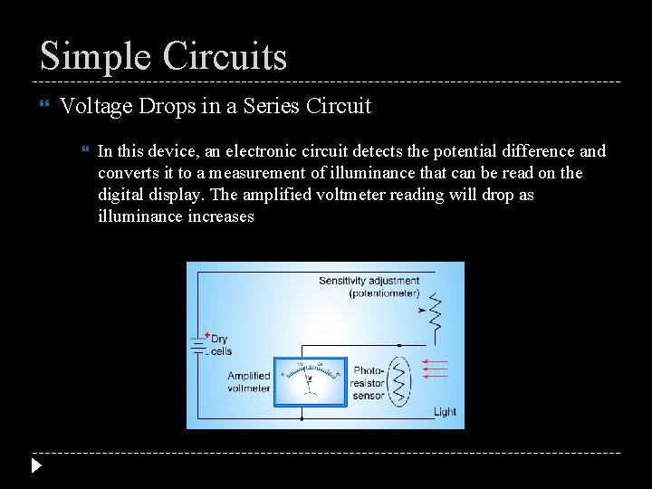 Simple Circuits Voltage Drops in a Series Circuit In this device, an electronic circuit