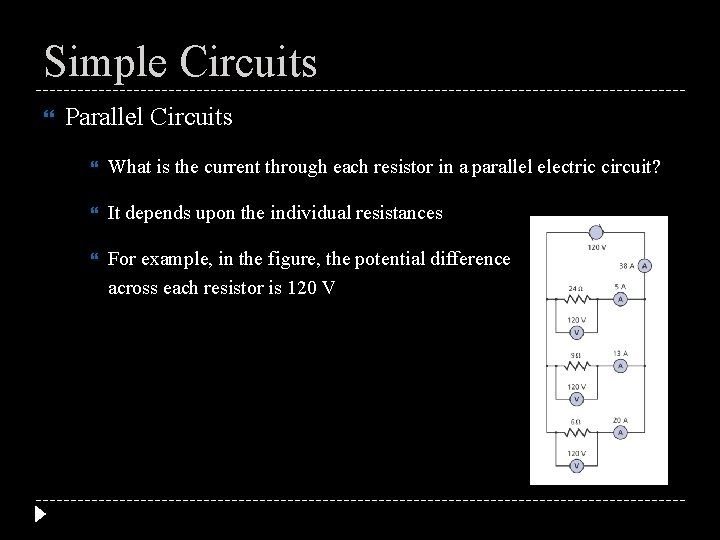 Simple Circuits Parallel Circuits What is the current through each resistor in a parallel