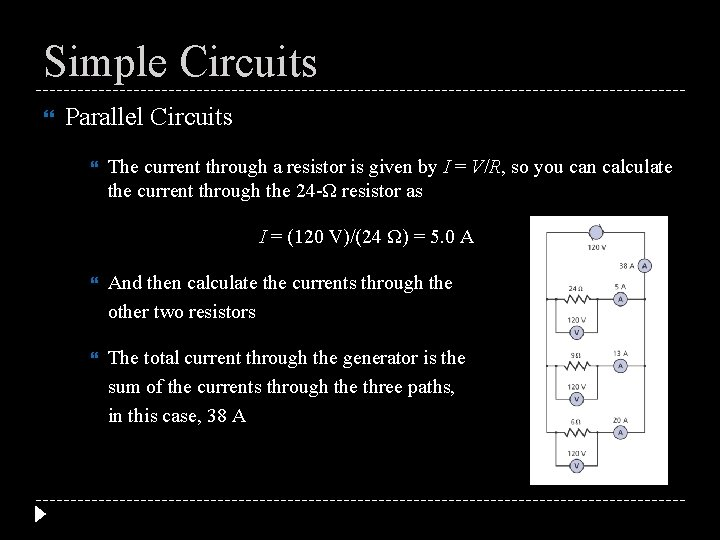 Simple Circuits Parallel Circuits The current through a resistor is given by I =