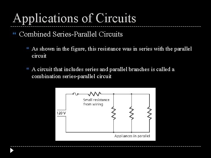 Applications of Circuits Combined Series-Parallel Circuits As shown in the figure, this resistance was