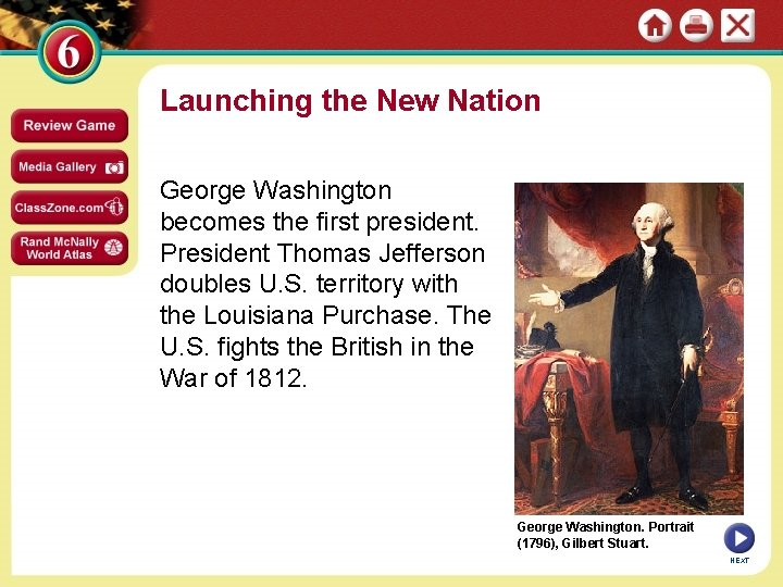 Launching the New Nation George Washington becomes the first president. President Thomas Jefferson doubles