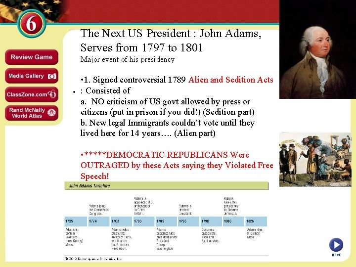 The Next US President : John Adams, Serves from 1797 to 1801 Major event