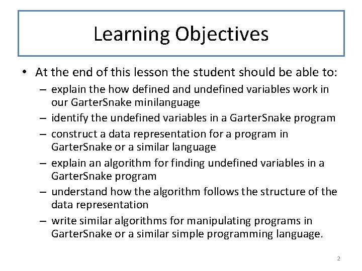 Learning Objectives • At the end of this lesson the student should be able