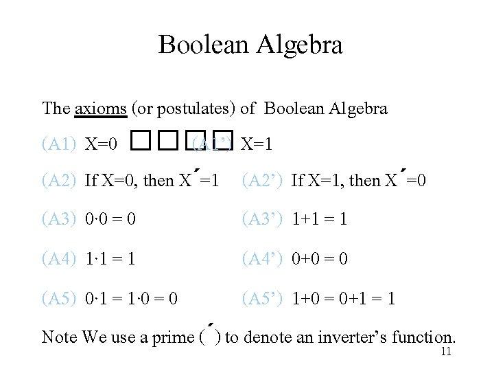 Boolean Algebra The axioms (or postulates) of Boolean Algebra (A 1) X=0 ���� (A