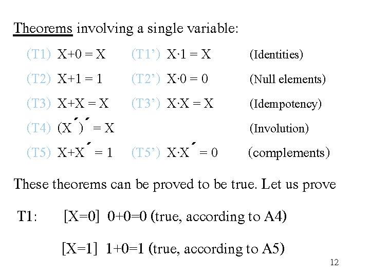 Theorems involving a single variable: (T 1) X+0 = X (T 2) X+1 =