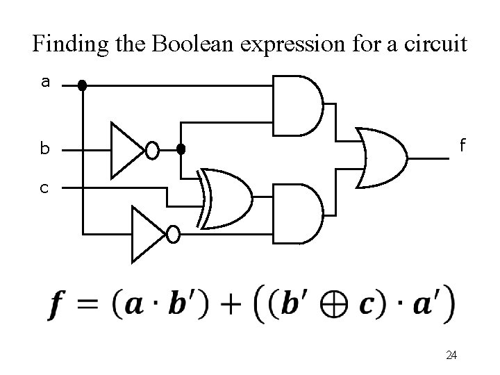 Finding the Boolean expression for a circuit a f b c 24