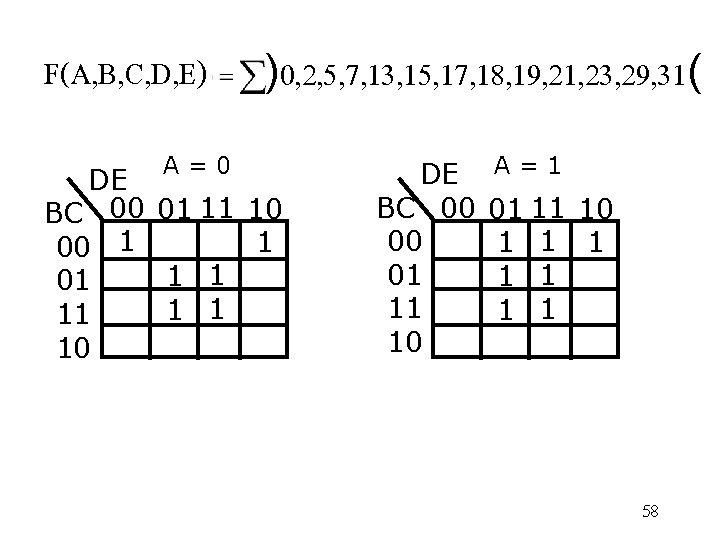F(A, B, C, D, E) A=0 )0, 2, 5, 7, 13, 15, 17, 18,