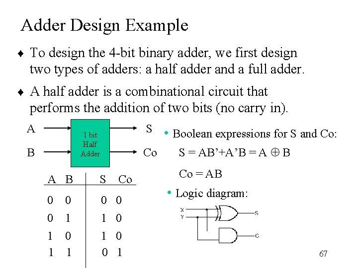 Adder Design Example ¨ To design the 4 -bit binary adder, we first design
