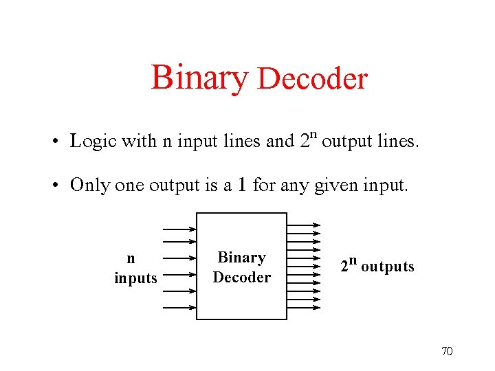 Binary Decoder • Logic with n input lines and 2 n output lines. •