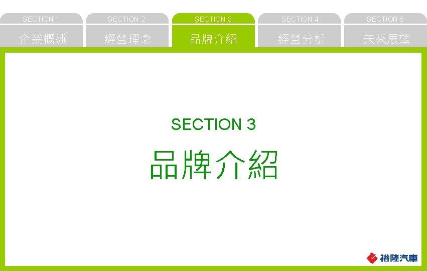 SECTION 1 SECTION 2 SECTION 3 SECTION 4 SECTION 5 企業概述 經營理念 品牌介紹 經營分析