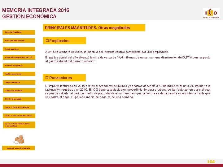 MEMORIA INTEGRADA 2016 GESTIÓN ECONÓMICA PRINCIPALES MAGNITUDES. Otras magnitudes Carta del Presidente Acerca de