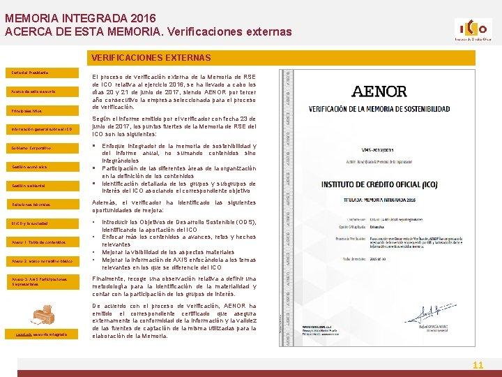 MEMORIA INTEGRADA 2016 ACERCA DE ESTA MEMORIA. Verificaciones externas VERIFICACIONES EXTERNAS Carta del Presidente