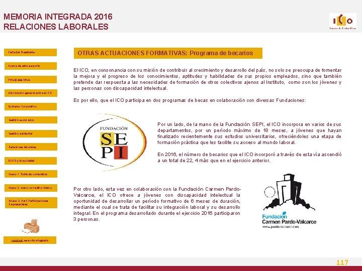 MEMORIA INTEGRADA 2016 RELACIONES LABORALES Carta del Presidente Acerca de esta Memoria Principales hitos