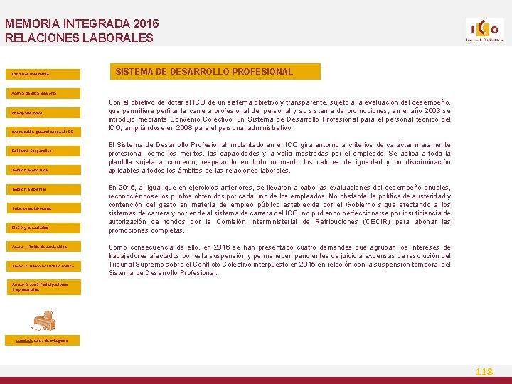 MEMORIA INTEGRADA 2016 RELACIONES LABORALES Carta del Presidente SISTEMA DE DESARROLLO PROFESIONAL Acerca de
