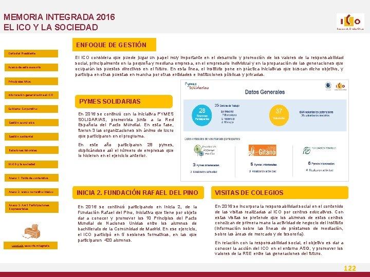 MEMORIA INTEGRADA 2016 EL ICO Y LA SOCIEDAD ENFOQUE DE GESTIÓN Carta del Presidente