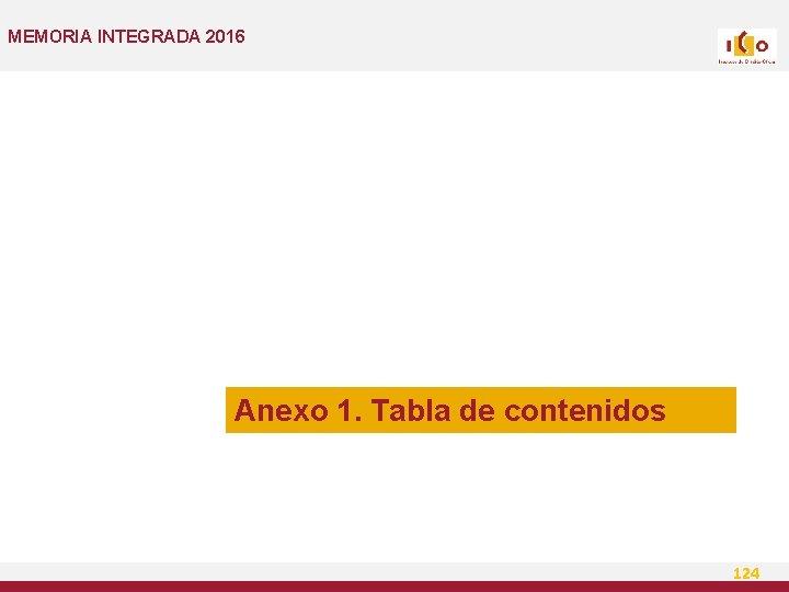 MEMORIA INTEGRADA 2016 Anexo 1. Tabla de contenidos 124