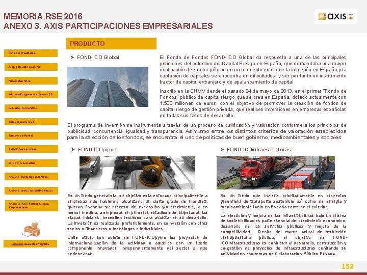 MEMORIA RSE 2016 ANEXO 3. AXIS PARTICIPACIONES EMPRESARIALES PRODUCTO Carta del Presidente Ø FOND-ICO