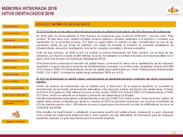 MEMORIA INTEGRADA 2016 HITOS DESTACADOS 2016 Carta del Presidente Acerca de esta Memoria Principales