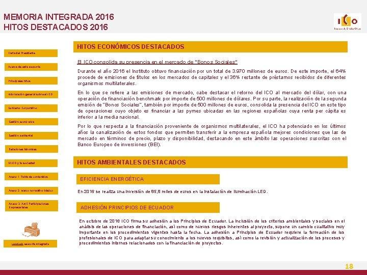 MEMORIA INTEGRADA 2016 HITOS DESTACADOS 2016 HITOS ECONÓMICOS DESTACADOS Carta del Presidente El ICO