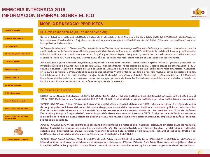 MEMORIA INTEGRADA 2016 INFORMACIÓN GENERAL SOBRE EL ICO MODELO DE NEGOCIO. PRODUCTOS Carta del